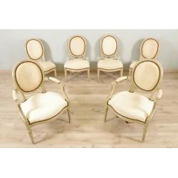 Два кресла и четыре стула, нарисованные Людовиком XVI.