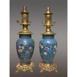 Пара ламп Наполеона III Клоизонне...
